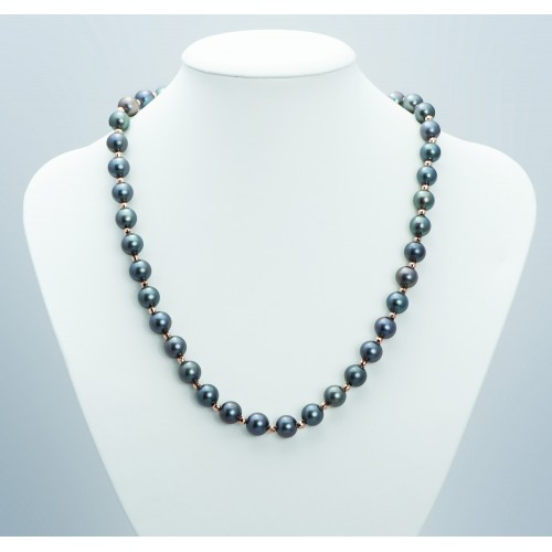 Black Pearl Necklace with...
