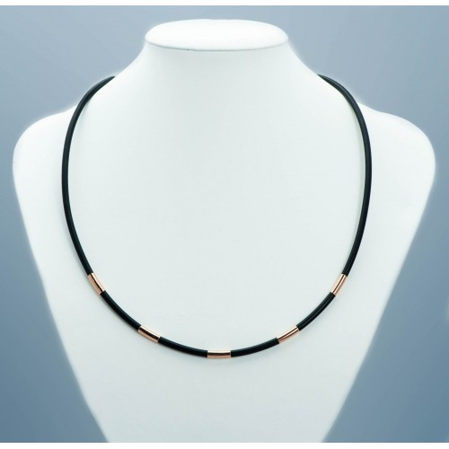 Black Rubber Necklace with...