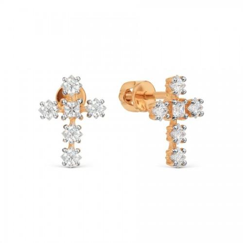 Серьги-гвоздики с крестом...