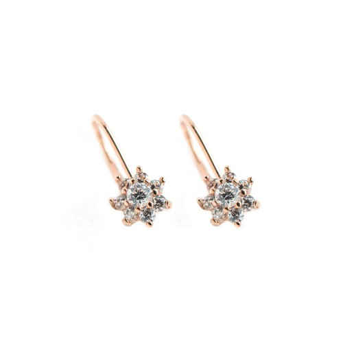 Flower Earrings in 14k Rose...