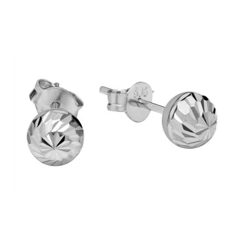 Round Stud Earrings in 14k...